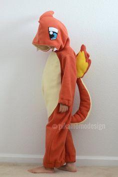 Easy Costumes, Dress Up Costumes, Diy Halloween Costumes, Pokemon Pajamas, Baby Pokemon, Charmander Costume, Charmeleon Pokemon, Pokemon Halloween, Pokemon Costumes