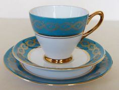 VINTAGE WINDSOR BONE CHINA TRIO TURQUOISE GOLD TEA CUP SAUCER SIDE PLATE 1124