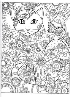 cat abstract doodle zentangle coloring pages coloring adult detailed advanced flower top left shiska