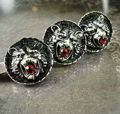 Exotic cufflinks Lion red rhinestone mouth Tiger Tie clip set Cuff links Vintage LEO Figural Gothic gift jewelry July august birthday