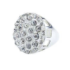 """Bauble-Clear (Size 8) Ring Make an entrance with a glittery cocktail ring encrusted with faux gemstones. Bauble Collection  •  Gold or silver tone  •  Available in size 7 or 8  •  1.13"""" diameter  https://myfashions.graceadele.us/GraceAdele/Buy/ProductDetails/10344"""
