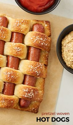 A fun and easy weave of hot dogs and crusty French bread strips. This recipe is perfect for a fun dinner that's share-worthy AND simple! What more could you want in a dinner recipe?