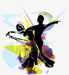 Ballroom dancing silhouettes, Sketch, Hand Painted, Ballroom Dancing PNG Image