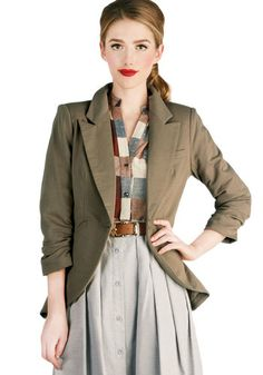 Fine and Sandy Blazer in Camel - Solid, Buttons, Work, 3/4 Sleeve, Ruching, Mid-length, Brown, Menswear Inspired, Fall, Steampunk, Scholasti...