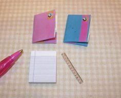 Miniature School Folders (2) and Supplies for DOLLHOUSE School Scene 1/12 Scale