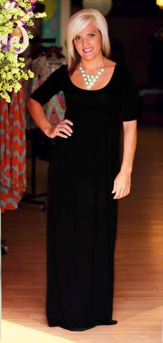 """Delaney"" Dress in Black.  $39.99.  Available at 105 West Boutique in Abbeville, SC"
