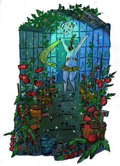 Illustration d'une jardinière faisant rougir ses tomates en leurs faisant un show du tonnerre ! Blog – Lucie Massart Blog, Illustrations, Drawings, Thunder, Tomatoes, Sketch, Drawing Drawing, Illustration, Blogging