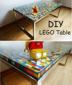 DIY LEGO Table Don't forget to Follow Us on Tumblr and Like Us on Facebook to keep up with the latest in Do It Yourself Ideas. What a fun and colorful way to add a play table to your kids room! This ultra easy DIY LEGO table will be a perfect opportunity to brighten a room and makes a great statement piece that they'll have for a long time! All you really need is a ton of LEGO pieces, a table and tempered glass! Make one today! http://xny.co/2014/04/diy-lego-table/