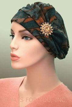 $19.50 - Olive Abstract Shirred Cap     #cancer #chemo #alopecia #hair loss