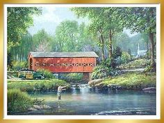 The Good Life by George Kovach ~ Fly Fishing, Vintage Woodie, Covered Bridge
