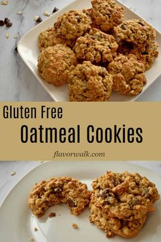 These easy to make Gluten Free Oatmeal Cookies are loaded with chocolate chips and peanut butter. They are crisp around the edges and chewy in the middle. If you like oatmeal, peanut butter, and chocolate, you have to try these gluten free cookies! Gluten Free Oatmeal Cookie Recipe, Best Gluten Free Cookies, Gluten Free Cookie Recipes, Gluten Free Sweets, Allergy Free Recipes, Gluten Free Cakes, Oatmeal Cookies, Oats Recipes, Baking Recipes