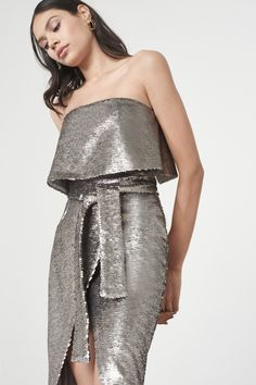 4fbbae7632 Silver Reverse Sequin Bandeau Cropped Tie Front Midi Dress Lavish Alice  Dress