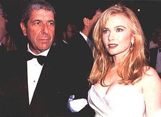 """Leonard Cohen and Rebecca De Mornay at the 1992 Academy Awards. Photograph byGreg Deguire from """"7Reasons Leonard CohenIs the Next-Best Thing to God"""" byDavid Browne,Entertainment Weekly, January 8, 1993."""