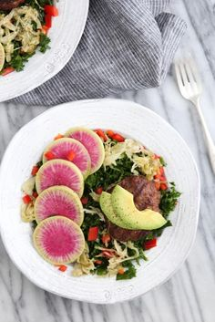 Massaged Kale Burger Salad: Jessi's Kitchen