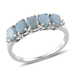 Peruvian Blue Opal (Ovl) 5 Stone Ring in Platinum Overlay Sterling Silver Nickel Free (Size 5) TGW 1.30 Cts.