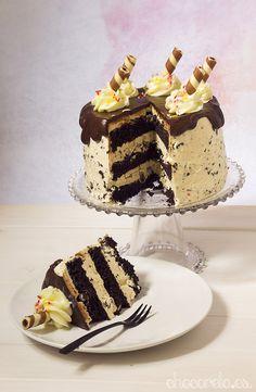 Chocolate chips and vanilla cake, Tarta de chocolate, vainilla y chips de chocolate
