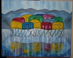 """PALAFITOS de CHILOE""_________ Ideas Para, Painting, Mosaics, Paintings, Exhibition Space, Stilt House, Art Projects, Visual Arts, Painted Rocks"