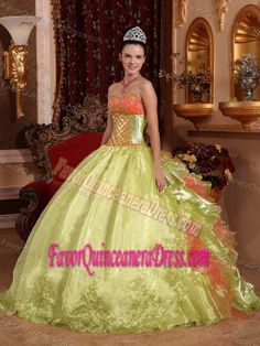 Gold Ball Gown Strapless Embroidery 2013 Quinceanera Gown in Organza