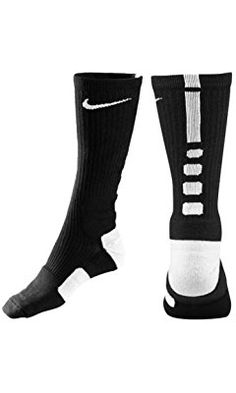 Nike Dri-Fit Elite Basketball Crew Socks. Landon. Large. Black on Red, Blue on Black, or Black on White.