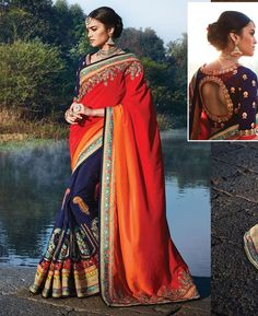 Buy Pleasing Maroon And Orange & Blue Party Wear Sarees online at  https://www.a1designerwear.com/pleasing-maroon-and-orange-blue-party-wear-sarees  Price: $127.49 USD