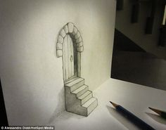 A doorway on top of steps appears in a folded piece of paper