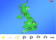 Weather Forecasting - Pretend to be a weather forecaster by dragging the symbols onto the map of the UK.