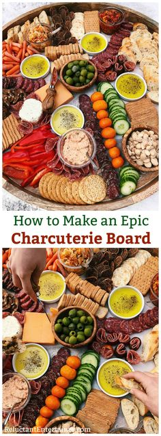 How to make an EPIC Charcuterie Board with cured meats, cheeses, veggies, nuts, olives, bruschetta, dried or fresh fruits and crostini crackers! #charcuterie #charcuterieboard