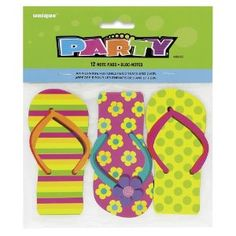 Pack Of 12 Flip Flop Note Pads. Ideal For Party Bag Fillers, Summer Hawaiian Or Luau Partie. Size Of Book 11cm X 5cm.