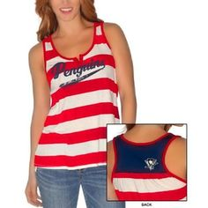 GIII Pittsburgh Penguins Ladies Red, White and Blue Tank-Top
