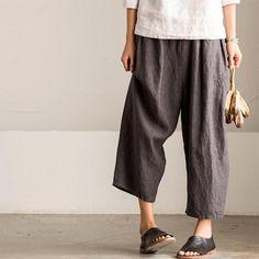 Vintage Loose Stripe Cotton Linen Pants Women Clothes K8086A