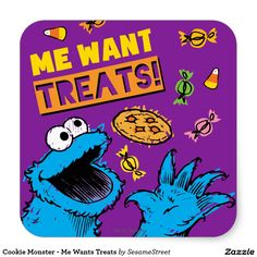 Cookie Monster - Me Wants Treats Square Sticker