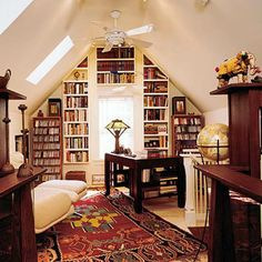 Small sofa or comfortable chair, writing desk and ladder for book shelves that are extended to the ceiling, floor carpet and efficient lighting create cozy home library designs and decorating for small rooms. The color scheme and ideas for decorating small apartments and homes should be simple and light.