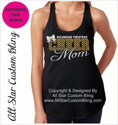 a19a4c3b890e5 Glitter Softball Mom Terry Racerback Tank Top with Player Name ...