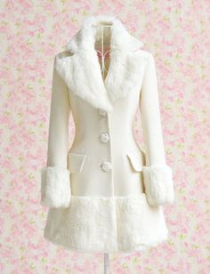 Winter Pure White Woolen Coat