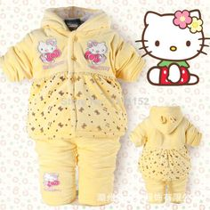 Goedkope , koop rechtstreeks van Chinese leveranciers:  2014 winter cartoon hello kitty newbron kleding set