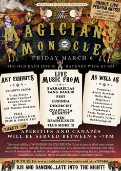 """""""Minatour presents The Magicians Monocle"""" on March 06, 2015 at 6:00pm-12:00am. Minatour present a completely unique style of event, encompassing all elements of creativity and interaction. Nothing will be static, everything will be interactive including the art exhibits. Category: Arts 