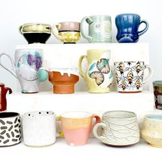 I can't pick a favorite because it changes each day. The objects I surrounded myself with carry meaning. Some are connections to friendships and mentors, others connect to experiences, and some are evolving. Ceramic Pottery, Ceramic Art, Ceramic Studio, I Love Coffee, Cup And Saucer, Connect, Coffee Mugs, Objects, Porcelain
