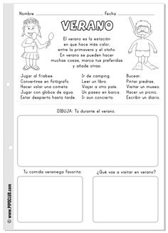Verano: actividades para niños para leer y colorear.