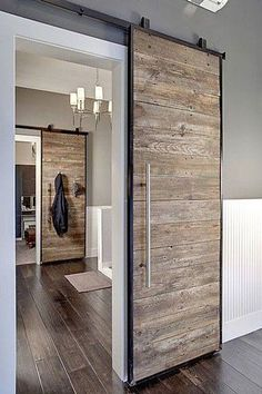 INTERIOR- The doors provide privacy and reduce noise between premises. If it comes to a smaller space, sliding doors are suitable option, because the opening and closing take up less space than con… Wood Interiors, Industrial Interiors, House Interiors, Modern Interiors, Barn Door Designs, The Doors, Entry Doors, Front Doors, Patio Doors