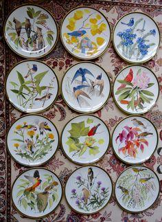 Set de 12 Wedgwood Fine Bone China dîner taille Franklin Mint porcelaine oiseaux chanteurs des plaques monde réelle