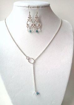 Silver chain and Swarovski crystal lariat by PinkCupcakeJC on Etsy, $16.00