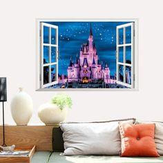 High Quality Castle Pattern Window Shape Removeable 3D Wall Sticker