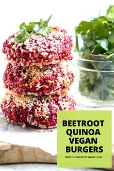 This is the perfect Beetroot Quinoa Burger to enjoy with that can of beets you have! Filled with bold flavors, it's so easy to make in less than 30 minutes! Healthy Sandwich Recipes, Healthy Sandwiches, Healthy Gluten Free Recipes, Healthy Food, Healthy Eating, Beetroot Burgers, Quinoa Burgers, Vegan Burgers, Vegan Veggie Burger