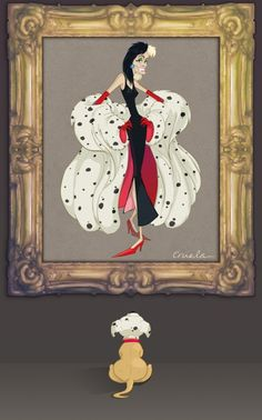 Cruella De Vil in her Dalmatian Spotted Fur Coat