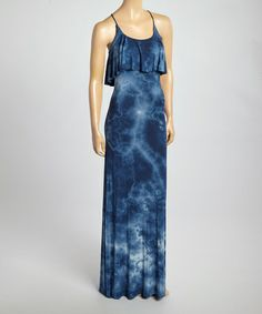 This Navy & White Marble Ruffle Maxi Dress is perfect! #zulilyfinds