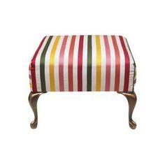 Silk Striped Footstool with Brass Legs