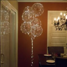 Box with 6 - 18 inch transparent balloons with 118 inch warm white LED fairy lights, reusable, LED balloons, wedding and party decor - # . Hanging Balloons, Clear Balloons, Light Up Balloons, Glitter Balloons, Balloon Lights, Led Decoration, Balloon Decorations, Balloon Ideas, Led Light Box