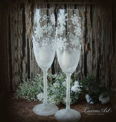 Snowflake Wedding Champagne Glasses Winter Wedding by LaivaArt