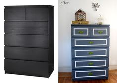 Ikea Malm makeover:  Painted and Trimmed