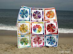 Quilty Habit dresden rainbow wedding quilt...
